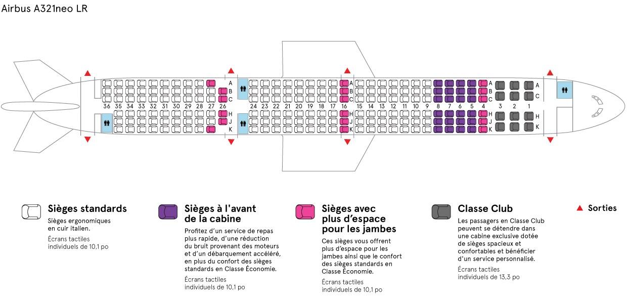 plan cabine A321LR Air Transat