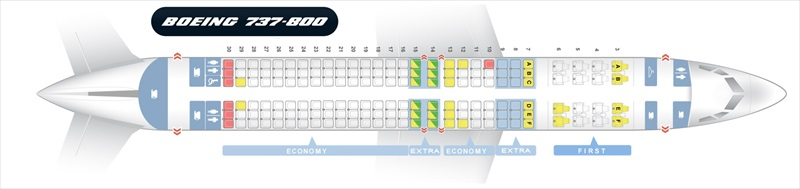 plan cabine B737-800 American Airlines
